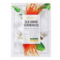 Лифтинг-маска для лица с протеинами шелка Petitfee Silk Amino Serum Mask 25g