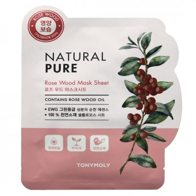 TONY MOLY Маска для лица тканевая Natural Pure Rose Wood Mask Sheet