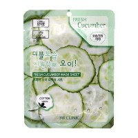 Тканевая маска для лица с экстрактом огурца 3W Clinic Fresh Cucumber Mask Sheet  23ml